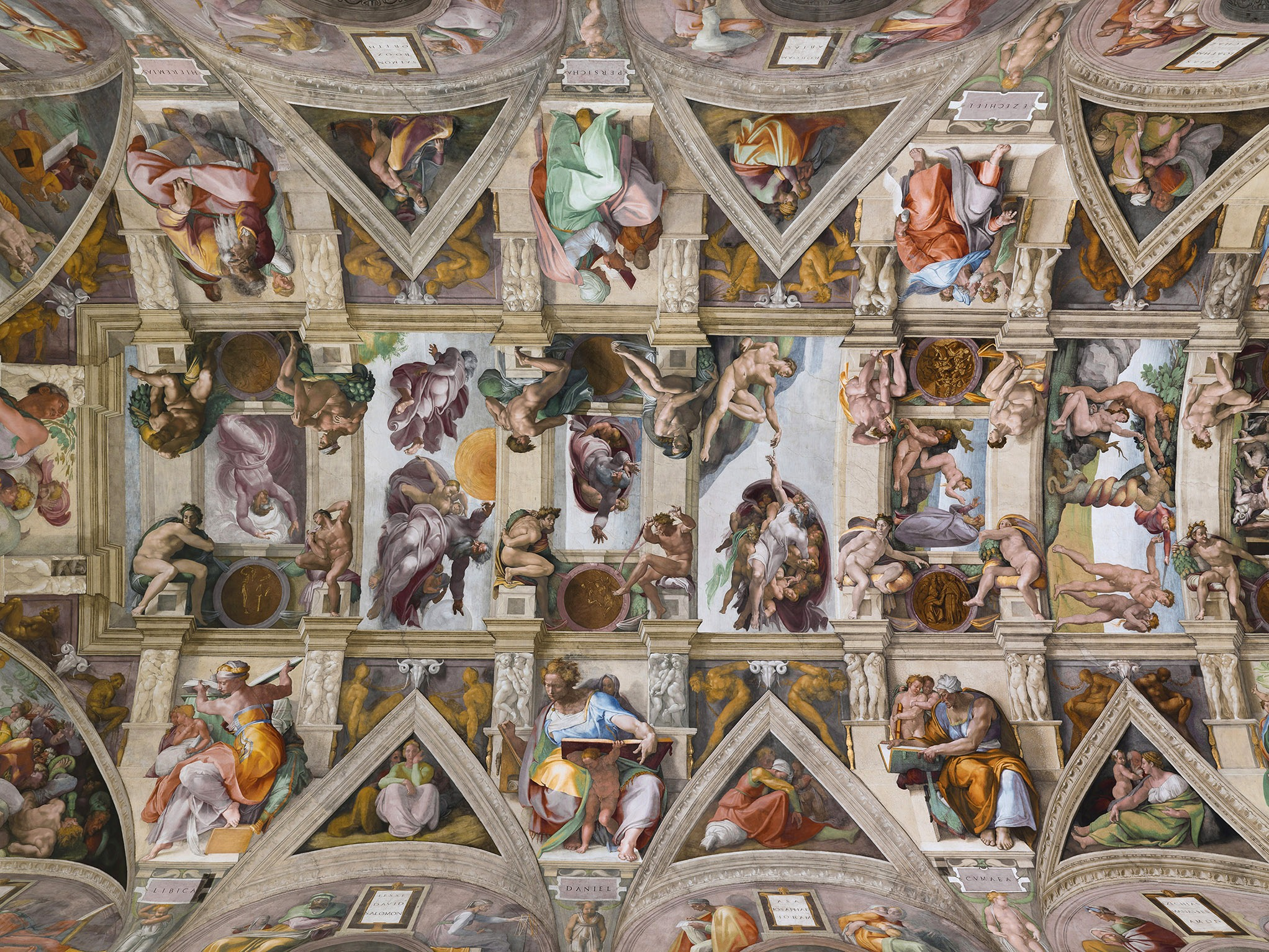 Michelangelo's  Sistine Chapel Ceiling  (Sistine Chapel [CC BY 2.5 (https://creativecommons.org/licenses/by/2.5)])