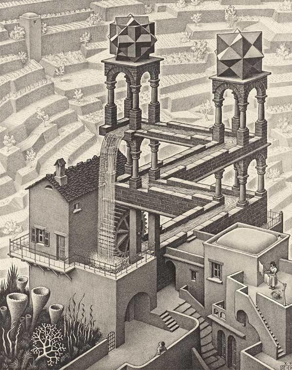 MC Escher's  Waterfall  ( https://www.mcescher.com/gallery/recognition-success/waterfall/ )
