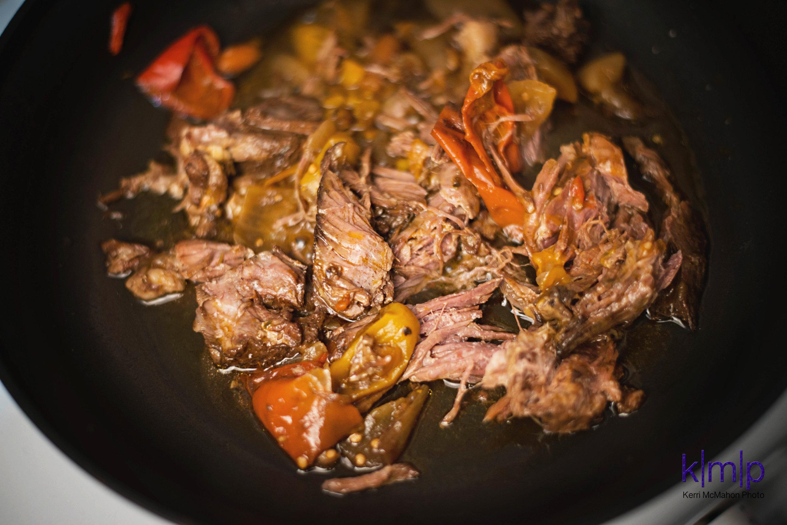 Cook the roast until the edges are crisp.
