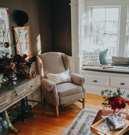 Houndstooth chair TeaEquestrian Chic-Meets-Mountain Retreat Cozy Den Designselwood Design