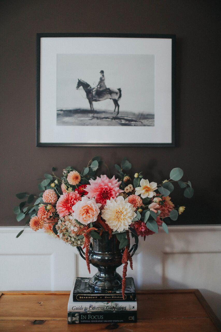 floral Equestrian Chic-Meets-Mountain Retreat Cozy Den Design