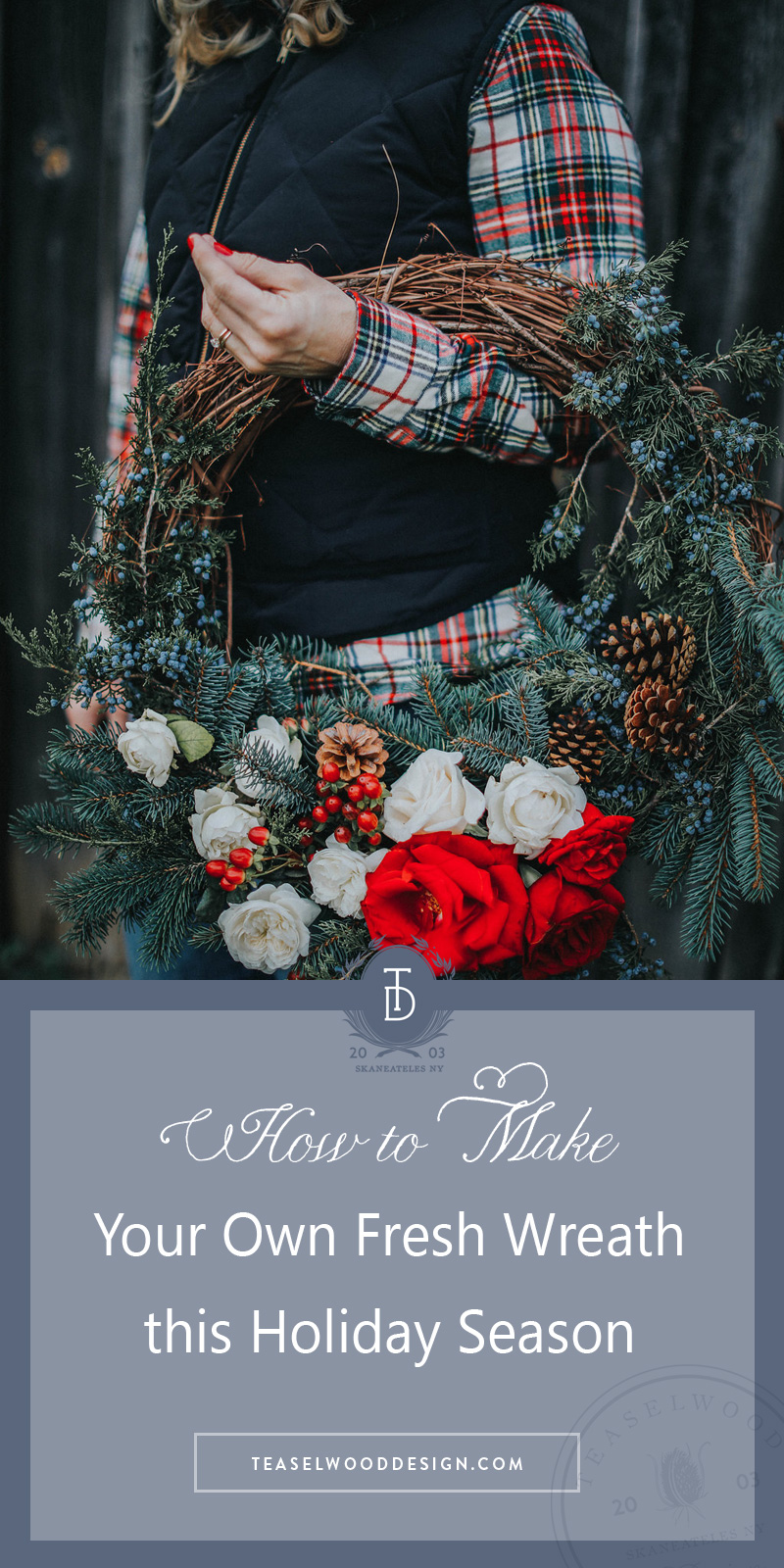 How-to-make-holiday-wreath-evergreens-roses