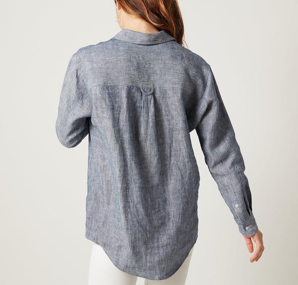 Rough Linen Relaxed Shirt in Denim