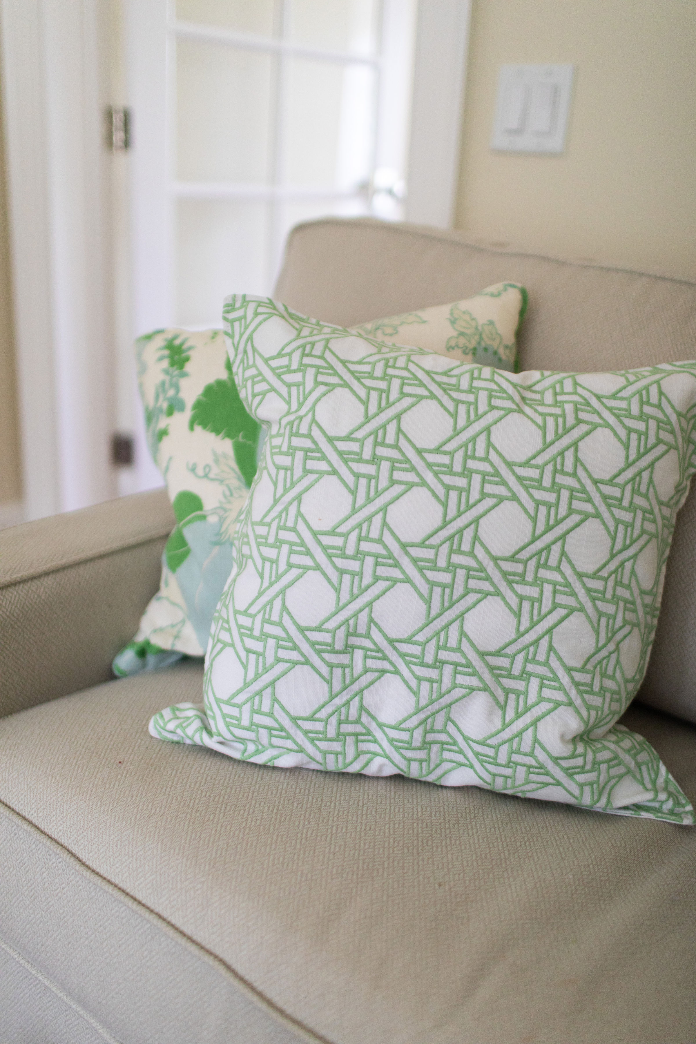 Cottage interior design style sofa, Teaselwood Design, Skaneateles, NY interior designer