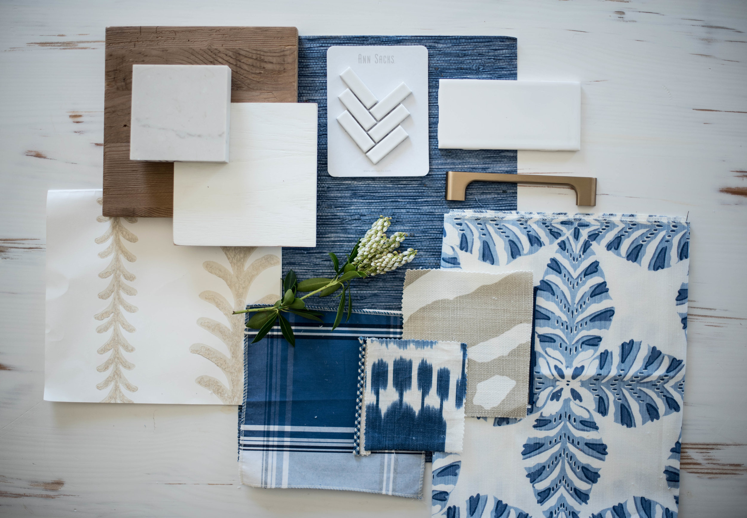 Blue and white color board coastal inspiration interior designer central NY