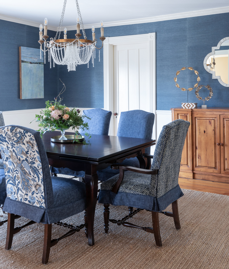Blue dining room idea Okemo Valley Interior Designer