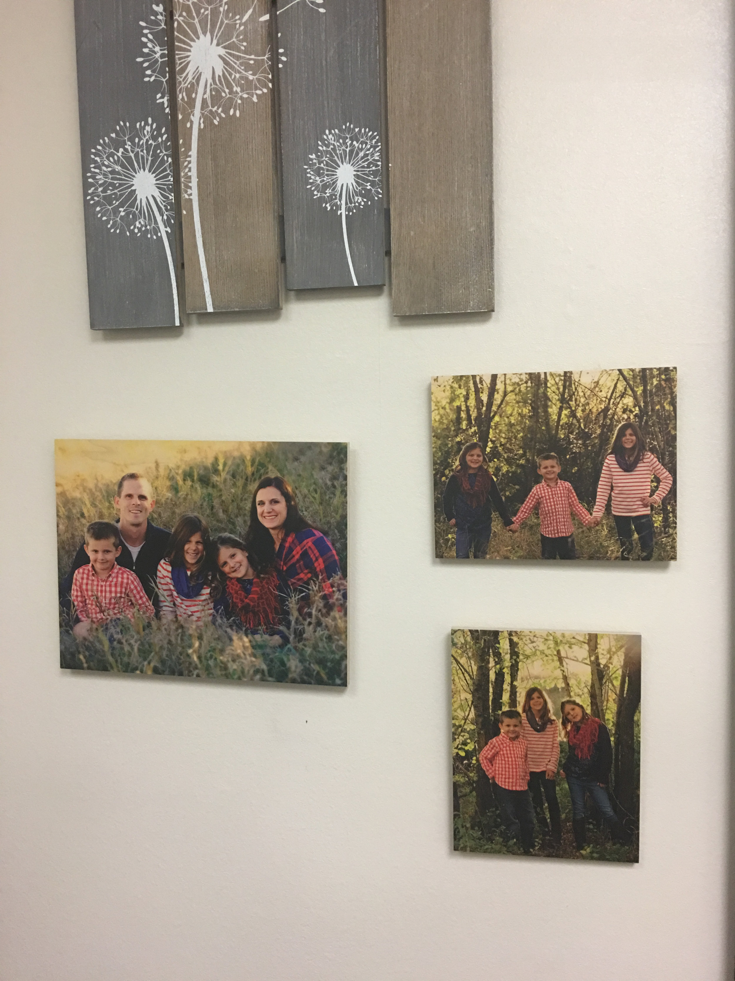 Photos on Wood in the work place. -