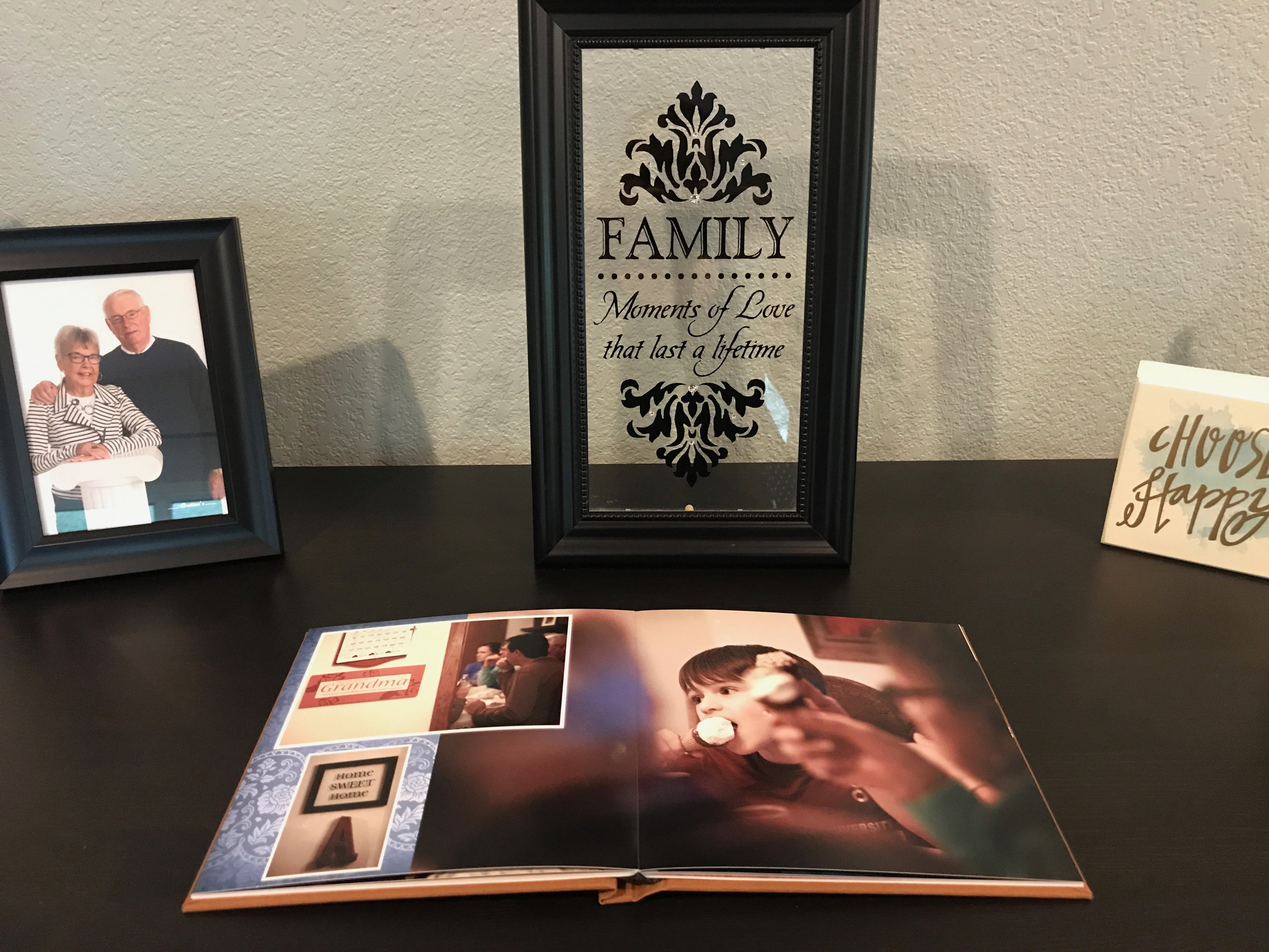Personalized Photo Book, on display in client's home.