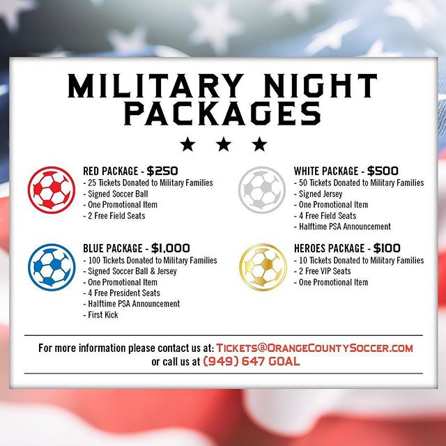 Are you in the greater Orange County area? Support Orange County Soccer Club's Military families by buying one of the Military Packages to tonights came. Details in the image.  #Summer #orangecounty #soccerclub #military #militarysupport #Revvodka #DrinkResponsibly