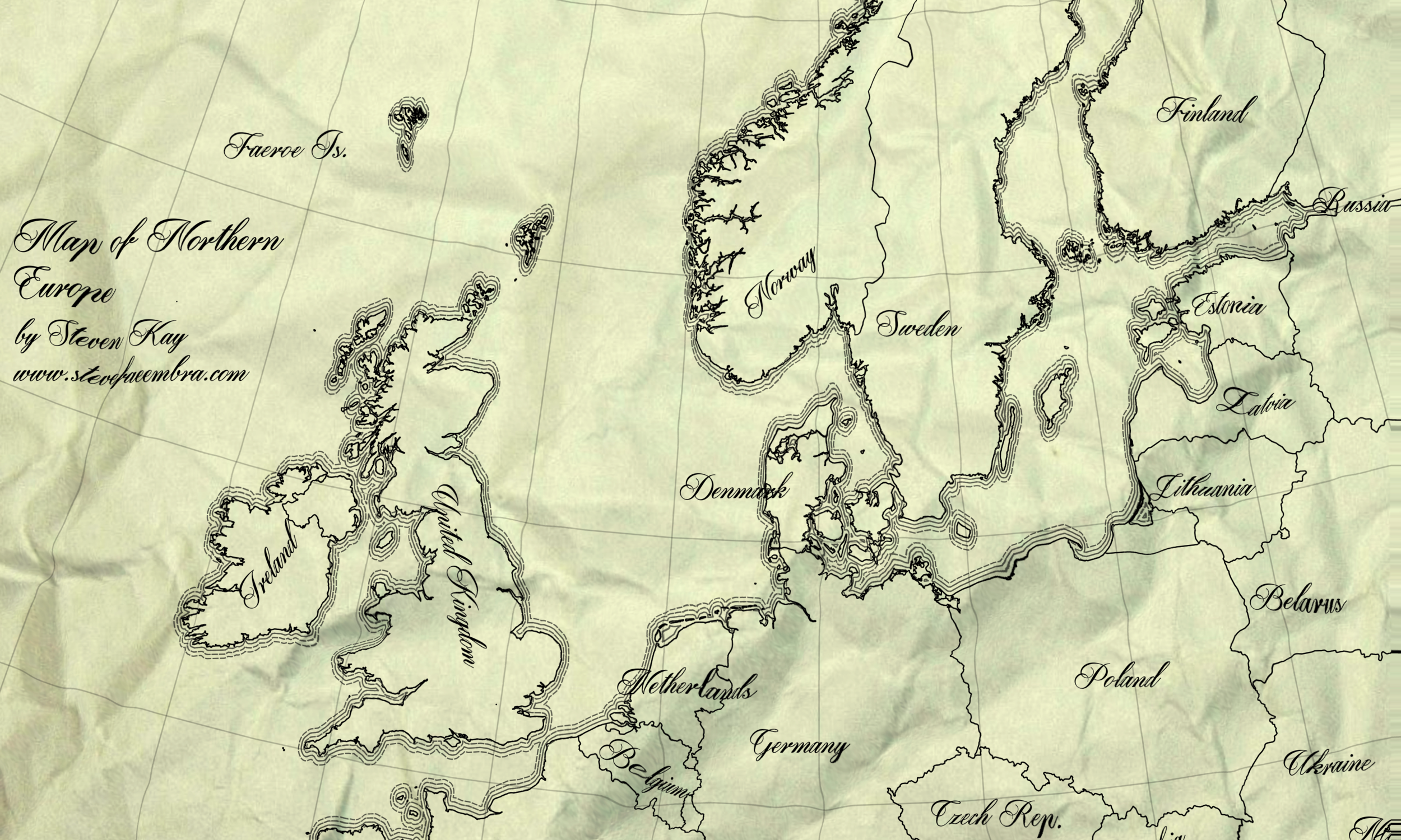 Antique style crumpled paper map