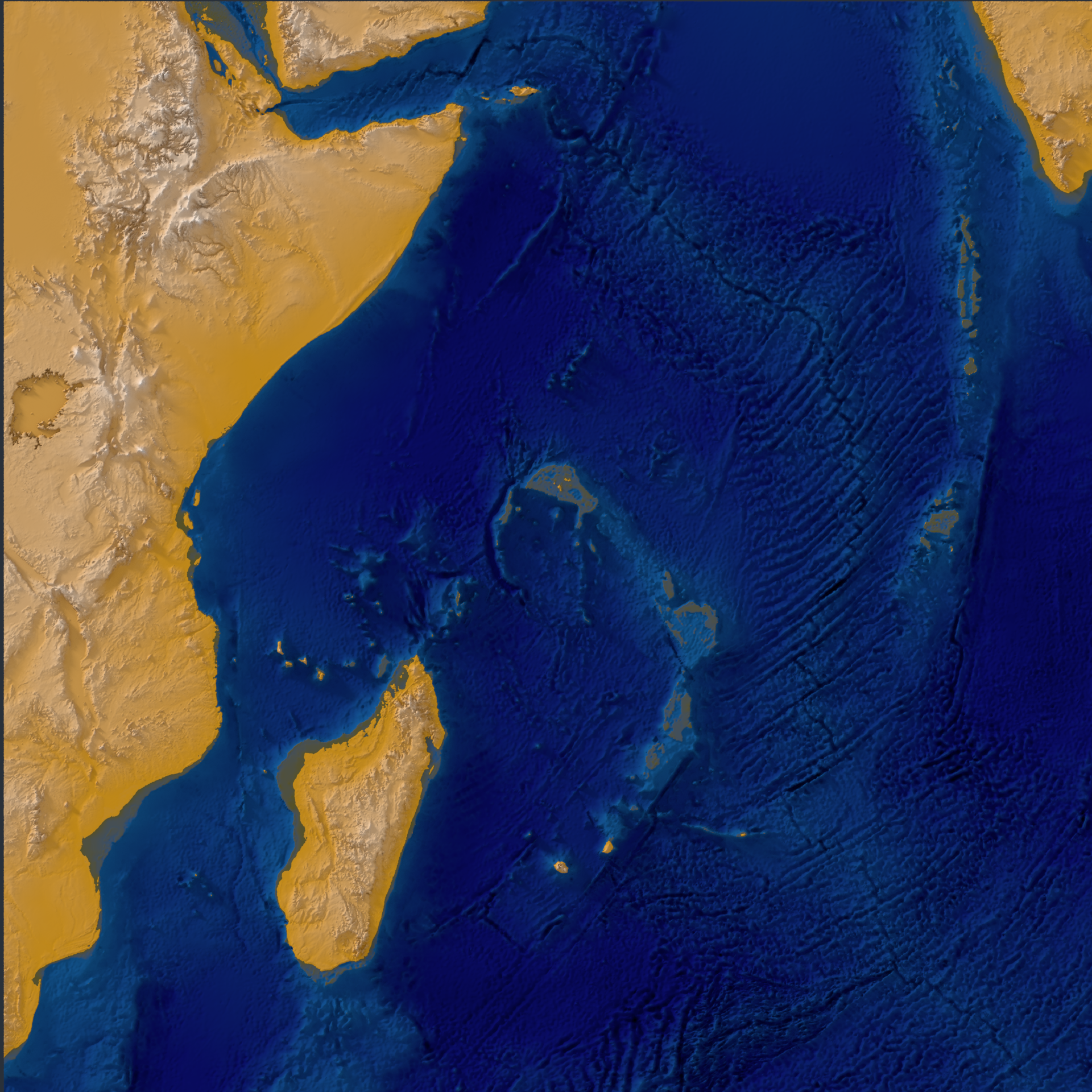 Indian Ocean. Sea was added as an additional, transparent mesh at sea level (elevation 0)