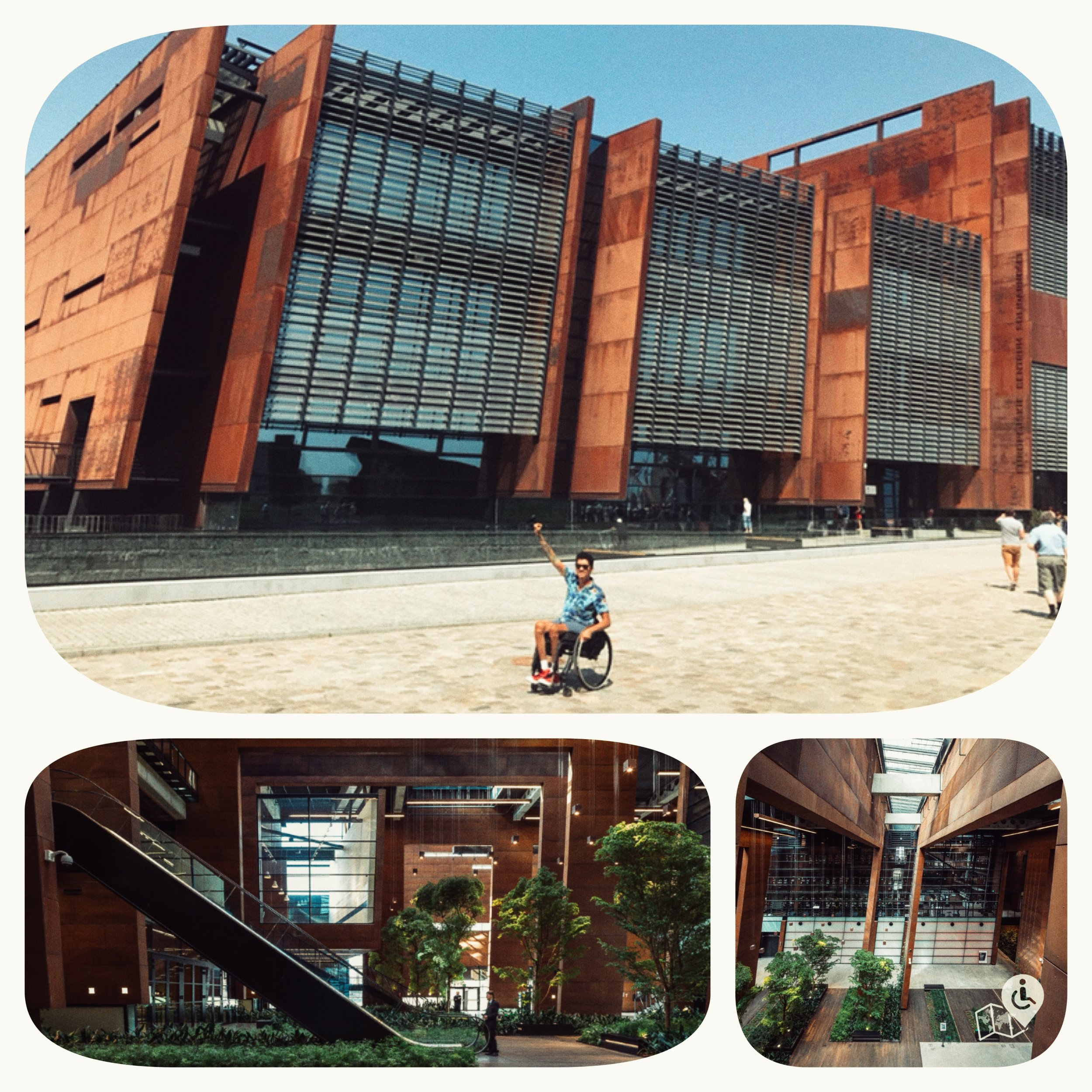 The eye-catching rusty colored building at the head of Gdansk Shipyard is the impressive European Solidarity Centre.