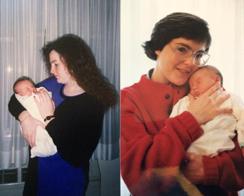 Baby Christine with her birth mother (left) and adoptive mother (right).