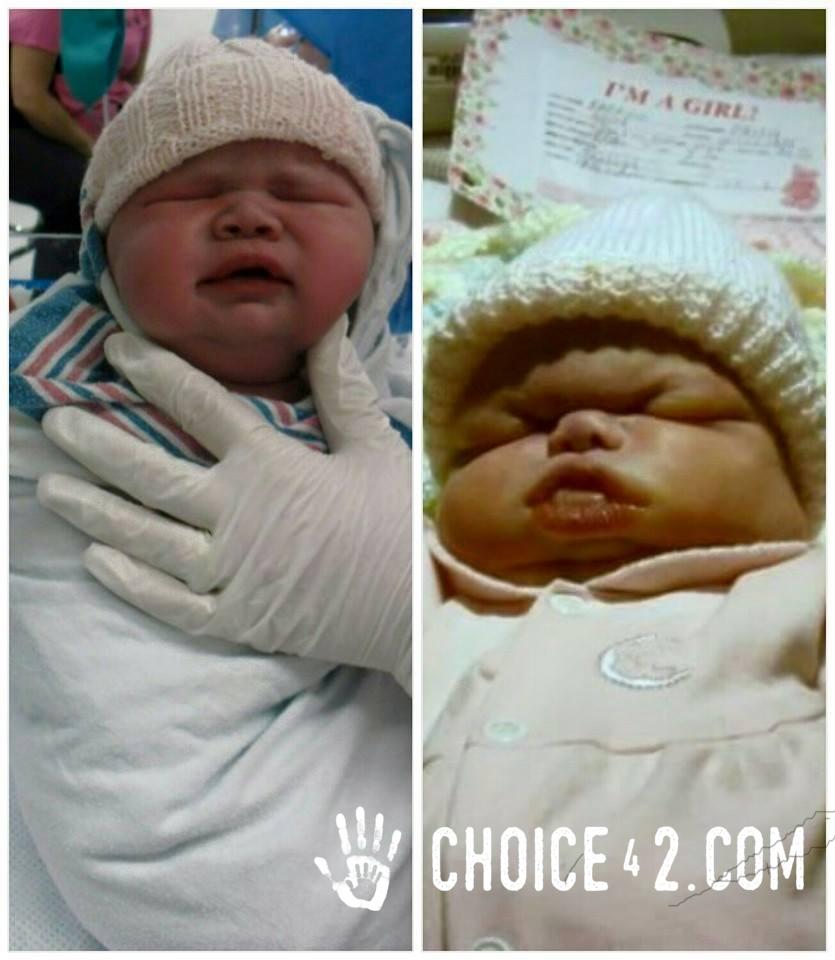 Right: baby Faith. Left: Rainbow baby Joy.