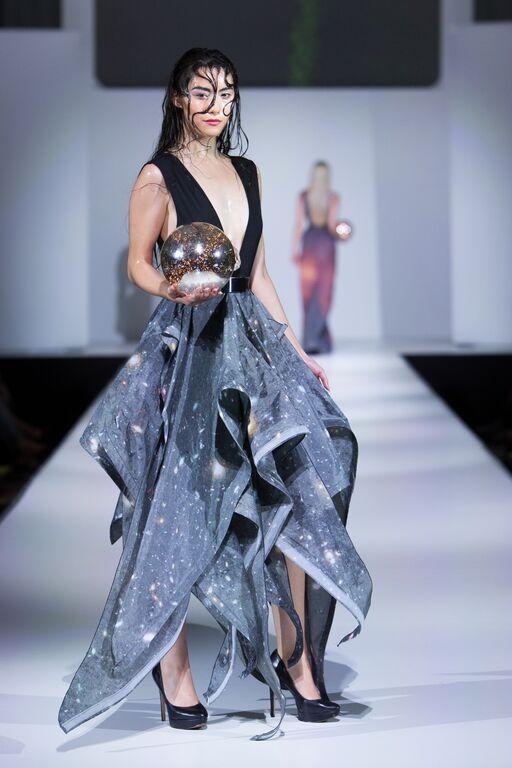 Designer: Buf Reynolds  Model: Develop Model Management  Stylist: EQ School of Hair Design
