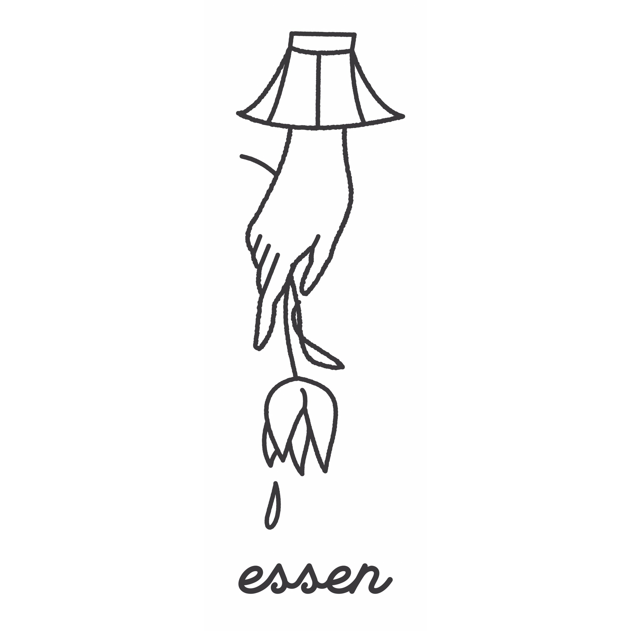 The essen logo featuring a hand and flower representing the juxtaposition of vulnerability and strength, brand art by  Nick Goodwin