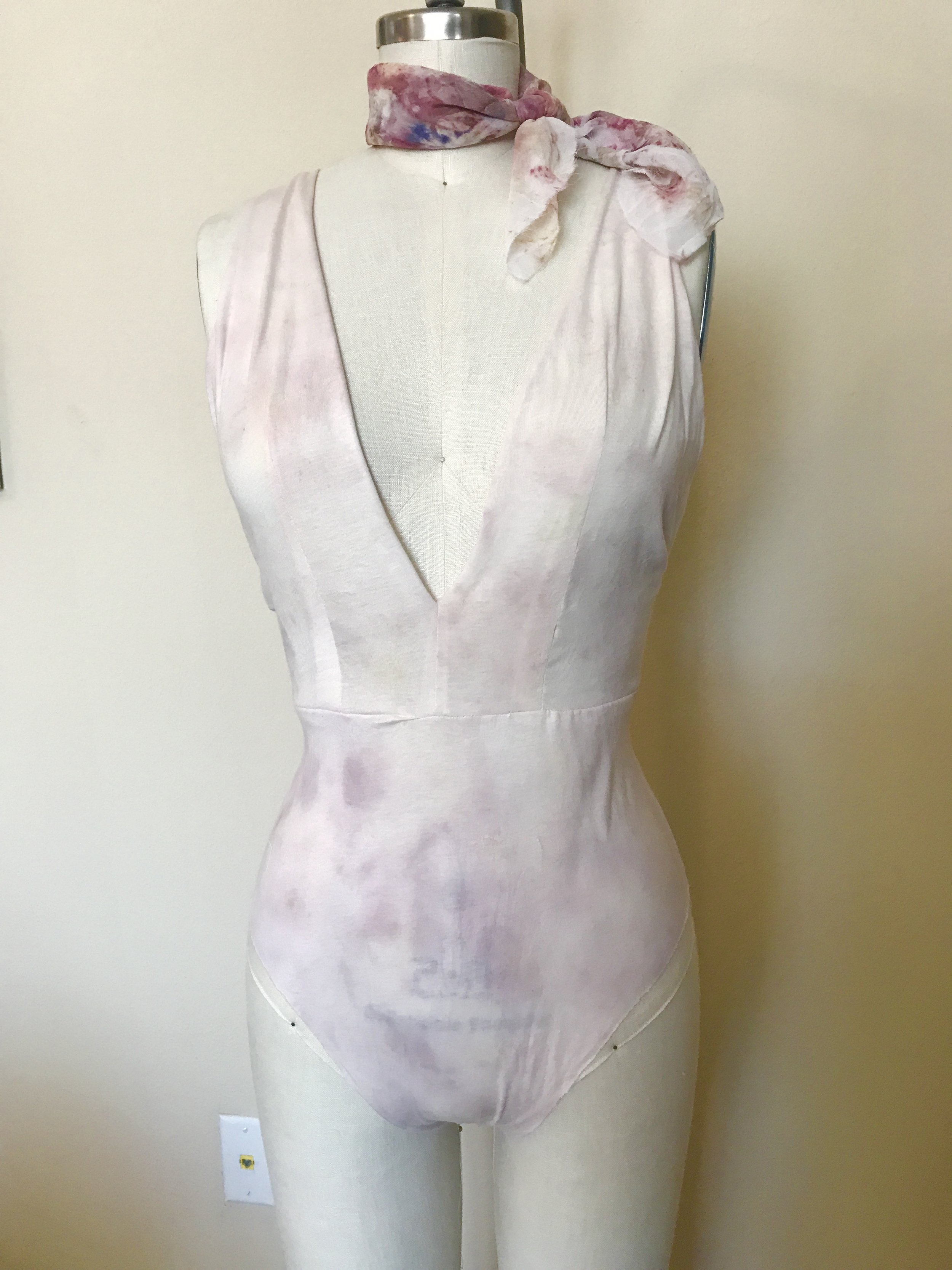 Knit cotton bodysuit, hand dyed with steamed flower petals