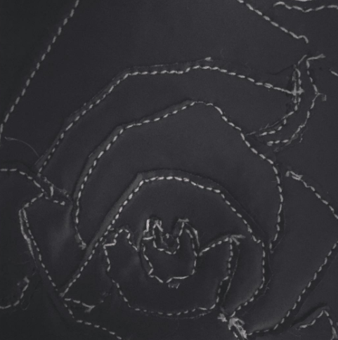 Close-up of a faux leather flower