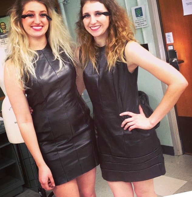 Courtney and her sister modeling pieces from her senior collection entitled Wild,which featured leather dresses.