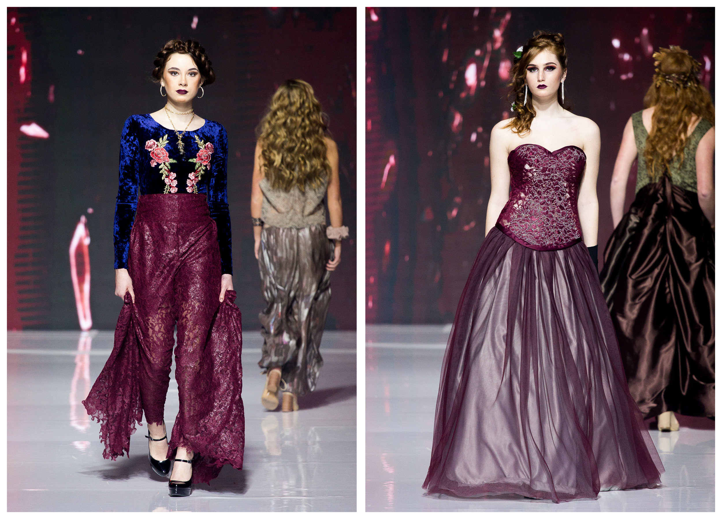 LEFT: Velvet bodysuit with burgundy lace pants. Pants have a train on the ends of each leg, and the flower appliques on the bodysuit are hand beaded. RIGHT: 2017 Prom Dress. All hand beaded, with a complete corset and a full ballgown skirt.
