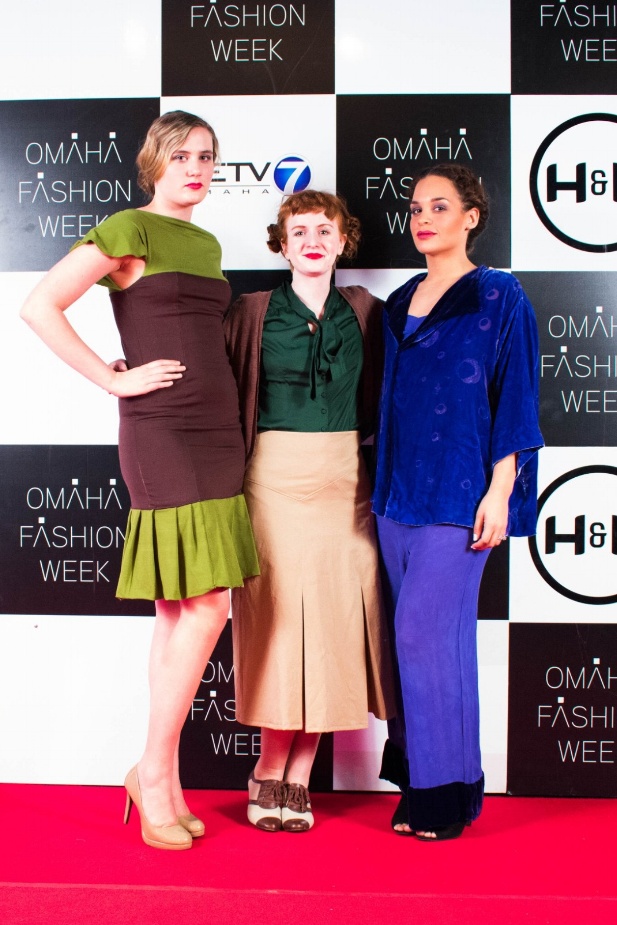 On the Borsheims Red Carpet during the UNL Student Showcase. (L to R:Lauren Dunn, Kate Lavender, Samantha Salinas