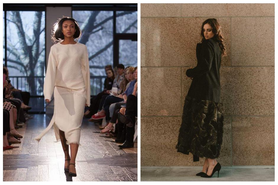 LEFT: MELODYNOY Fringe knit two piece + RIGHT: MELODYNOY Fur blocking full length coat