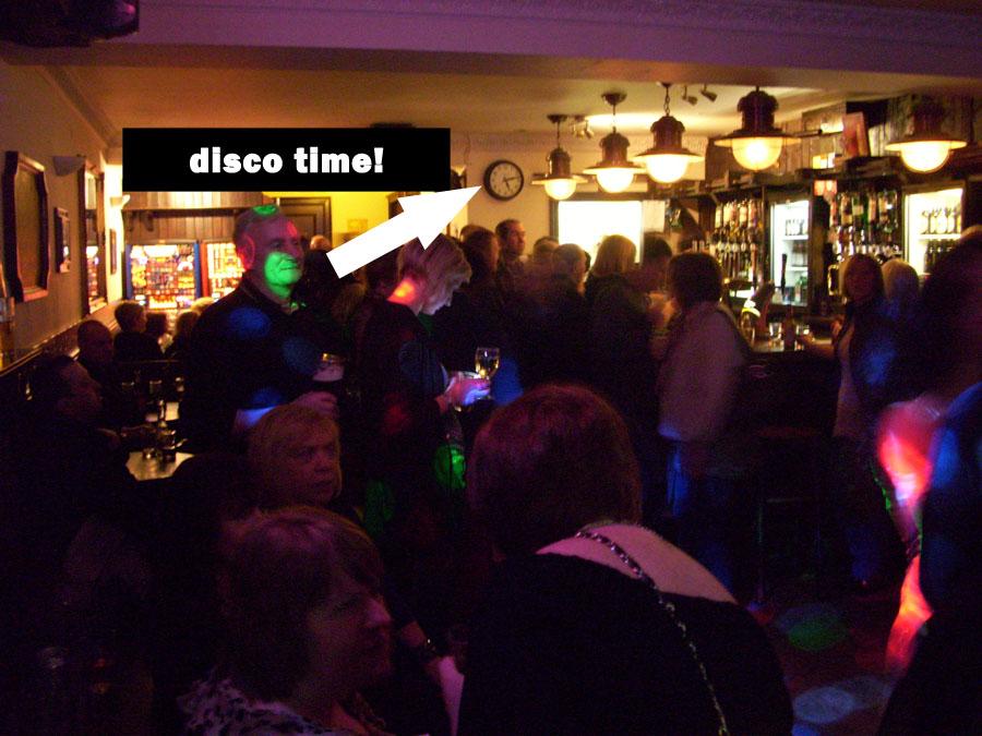 Inside the disco.