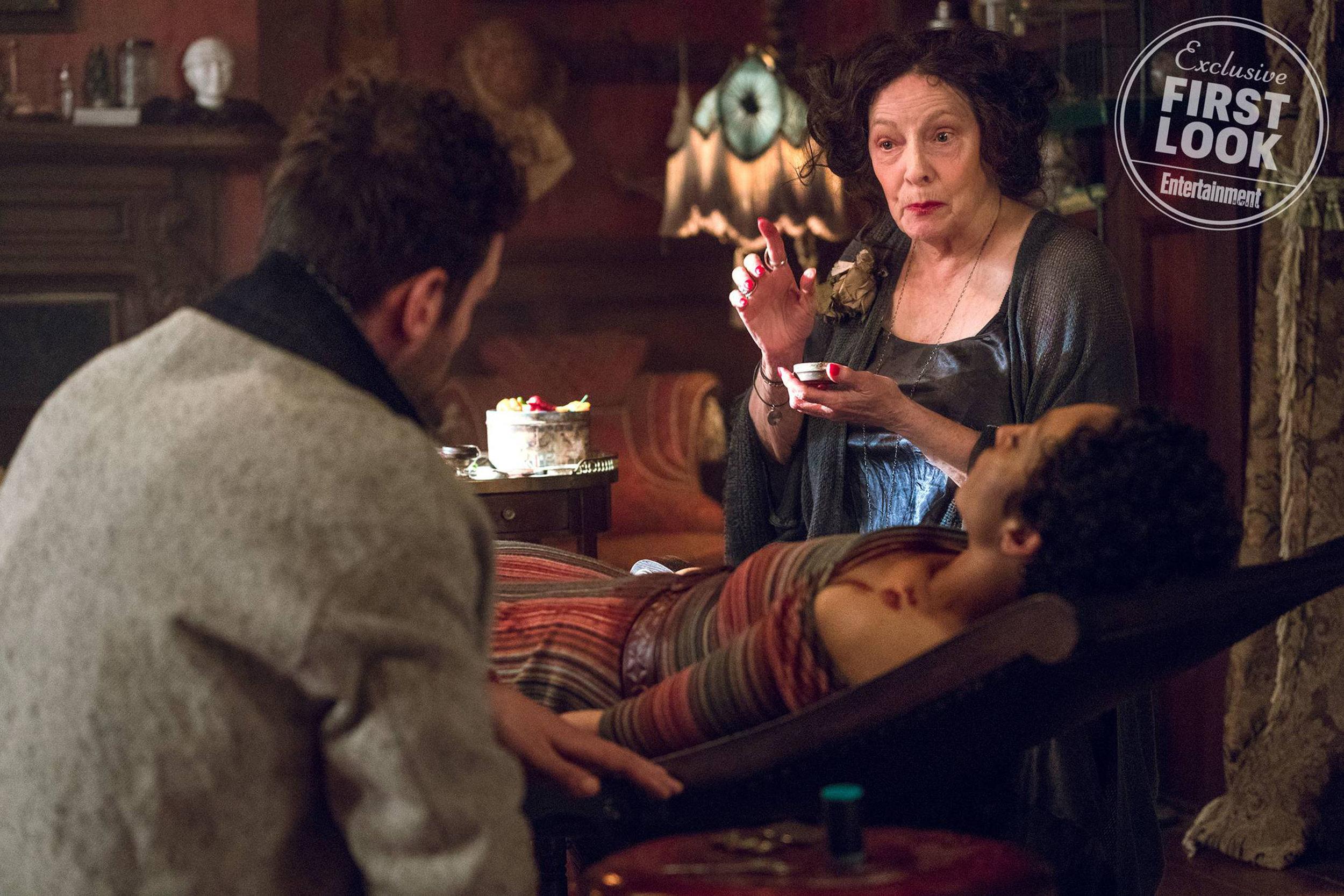 Joe Gilgun as Cassidy, Ruth Negga as Tulip O'Hare and Betty Lynn Buckley as Gran'ma Photo: Alfonso Bresciani/AMC/Sony Pictures Television
