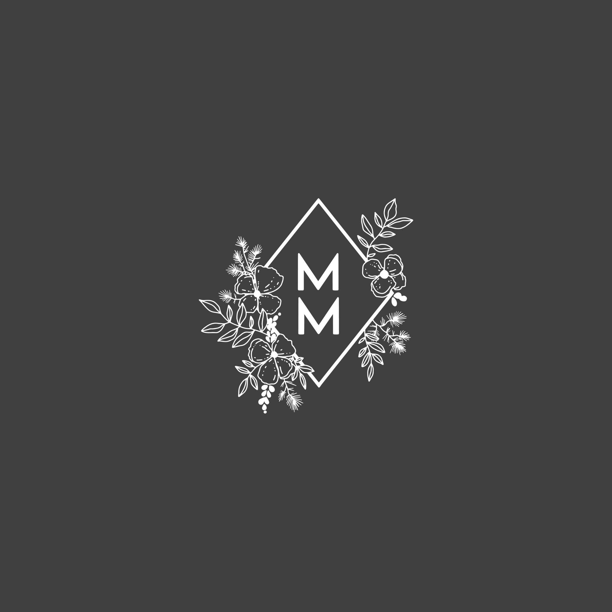 simple flowers and diamond logo