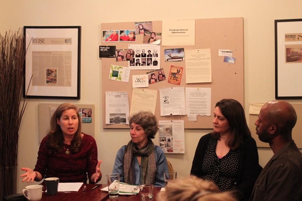 L to R: Alexandra Shelley, Karen Braziller, and Nancy Rawlinson