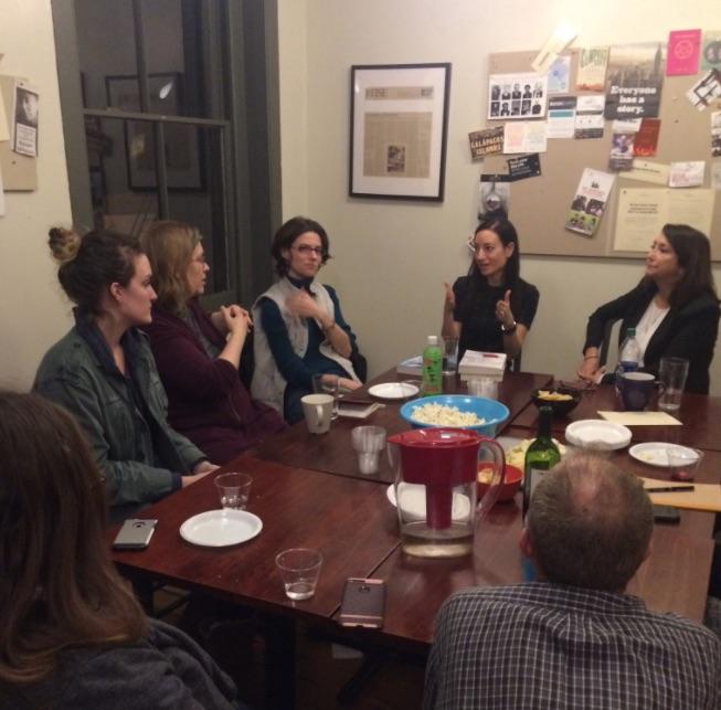 Above: Amy Tannenbaum (gesturing) and Kathy Schneider (far right).