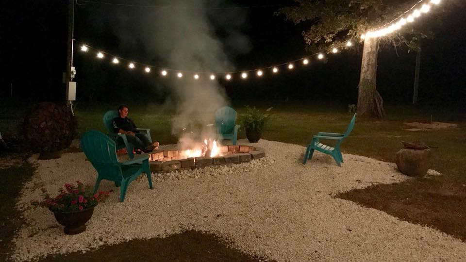 Our outdoor, 8 foot fire pit for those cool nights.