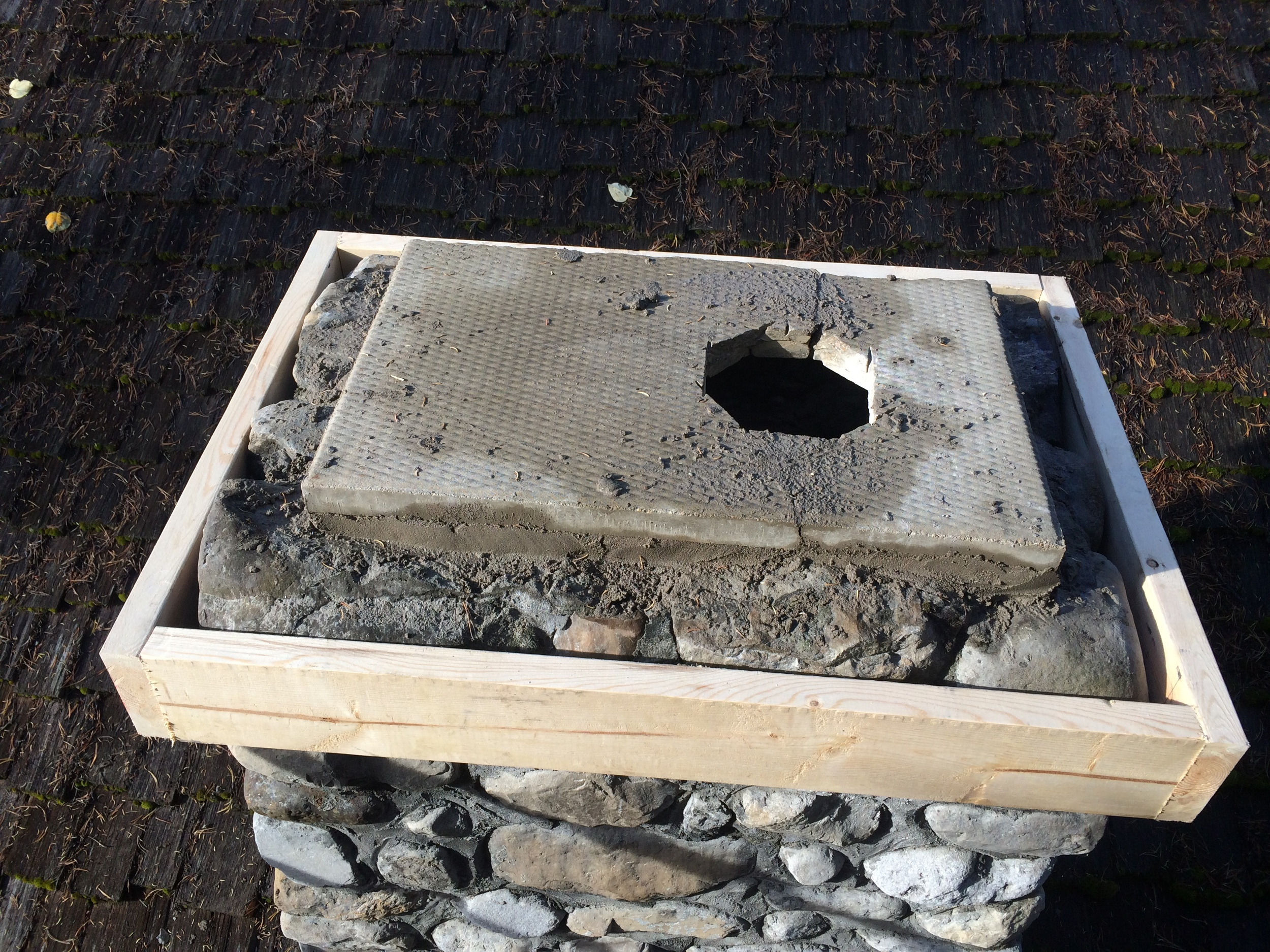 Re-capping a chimney (step 3)