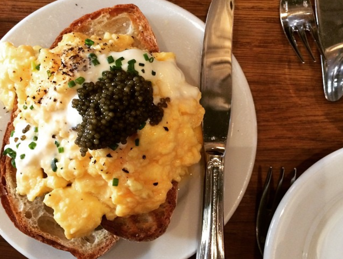 Get here early and order the Caviar Egg    Buvette    42 Grove Street, West Village, NYC