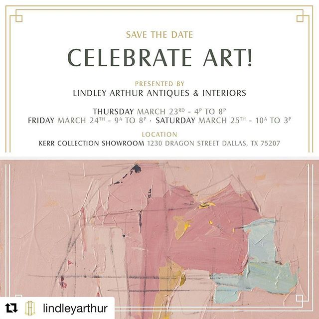 #Repost @lindleyarthur with @repostapp ・・・ Countdown is on! One month until our annual #CelebrateArt show! We're moving down to the Design District this year and have some new amazing artists joining us @susiebettenhausen @alexiswalterart @susankwill @meredithgrabhamdesigns @amck.fine.art @sloanesphillips @beckytodd73 @clark.coz @paigekalenafollmann @ann_jackson_art @ashleysaer