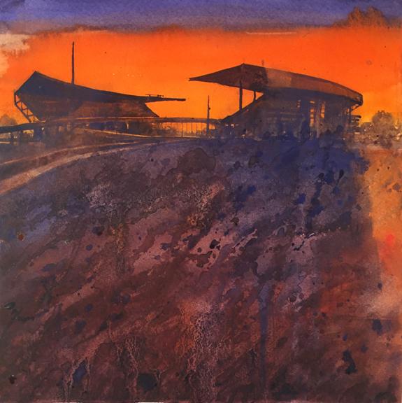 Square Series 2  Stadium study in Orange