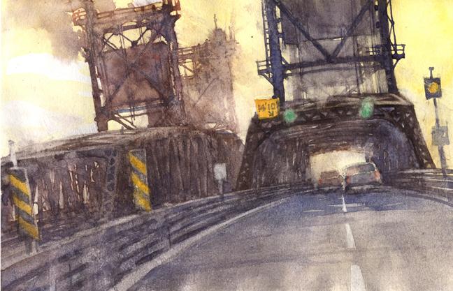 """Bridge Study 8 6""""x9"""" watercolor sketchbook page"""