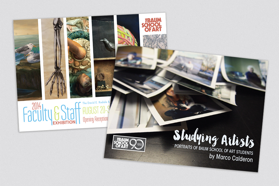 The Baum School of Art – Allentown, PA Non-profit Community Art School  A variety of exhibition invitation postcards used for marketing and promotion. The Baum School of Art presents 12–14 exhibitions per year.