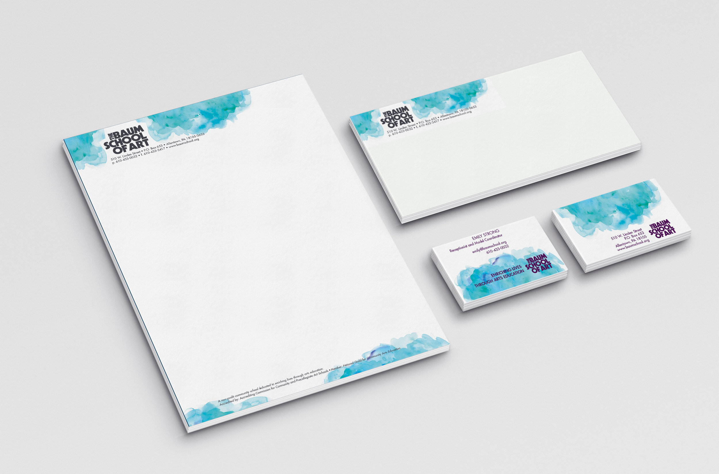 Baum School of Art – Allentown, PA Non-profit Community Art School  Baum School of Art Stationery consisting of letterhead, envelope, and double-sided business cards.