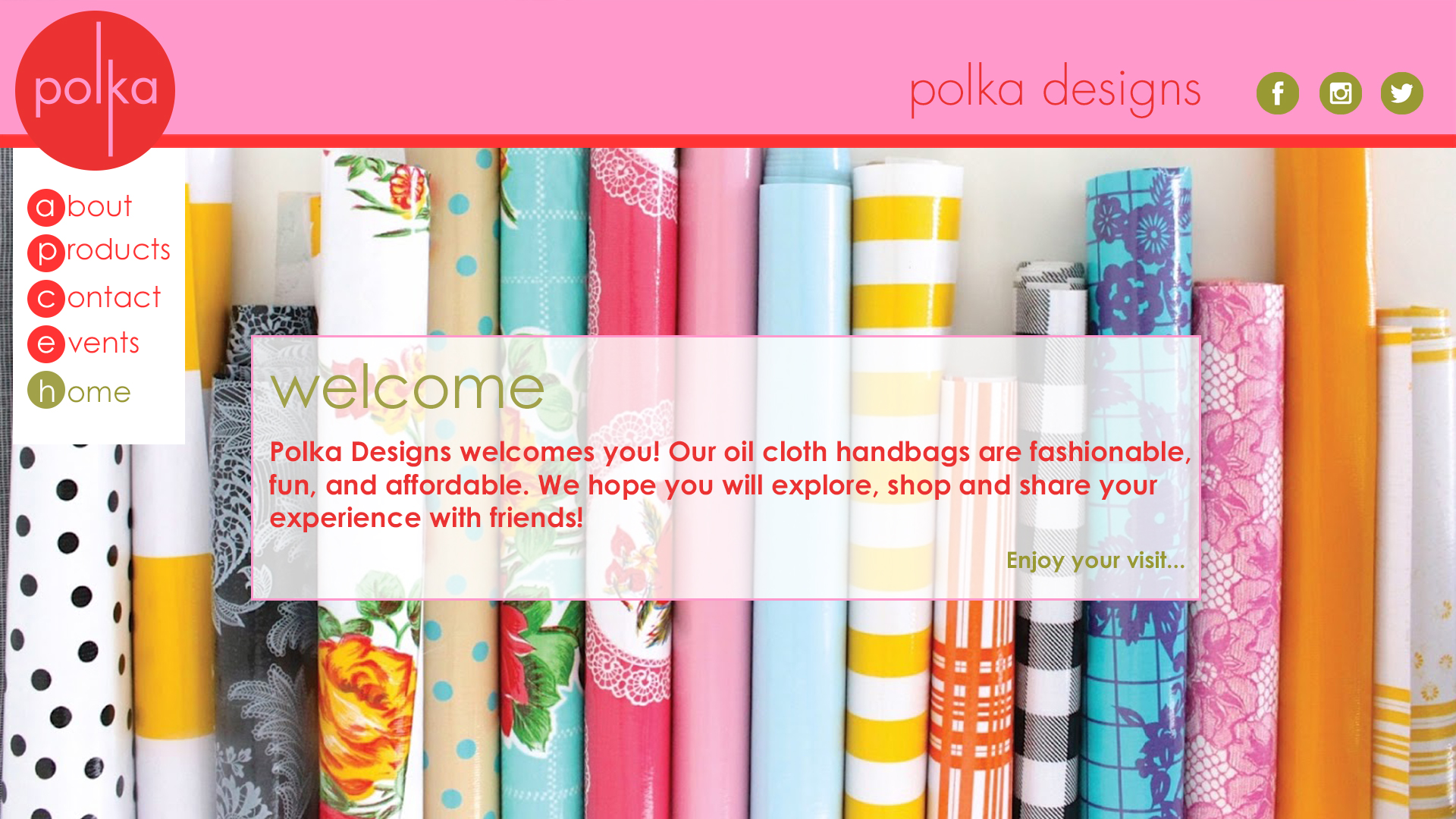 Website Concept  POLKA DESIGNS Oilcloth handbags and accessories