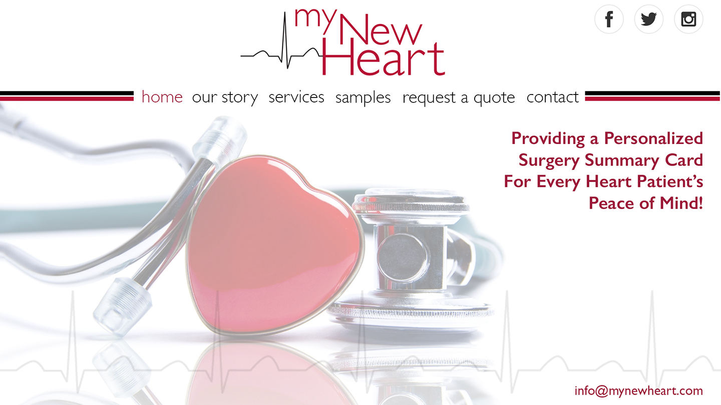Website Concept  MY NEW HEART Small business providing laminated cardiac care cards for heart patients.