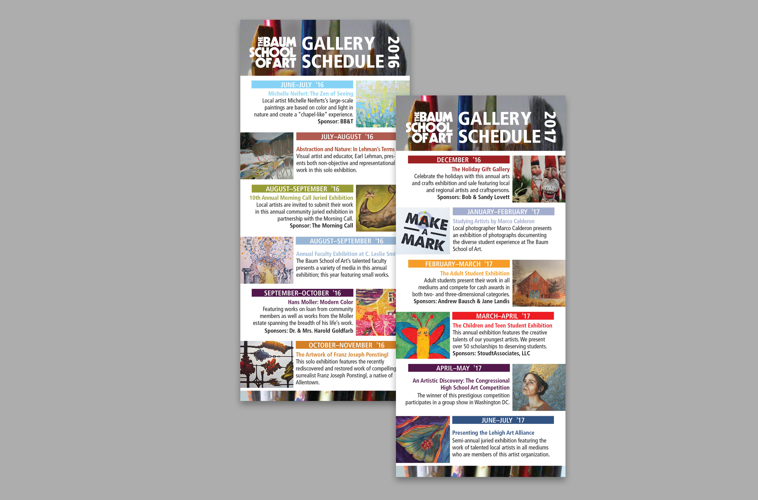 The Baum School of Art – Allentown, PA Non-profit Community Art School  Rack card included in 2016–17 gallery appeal.