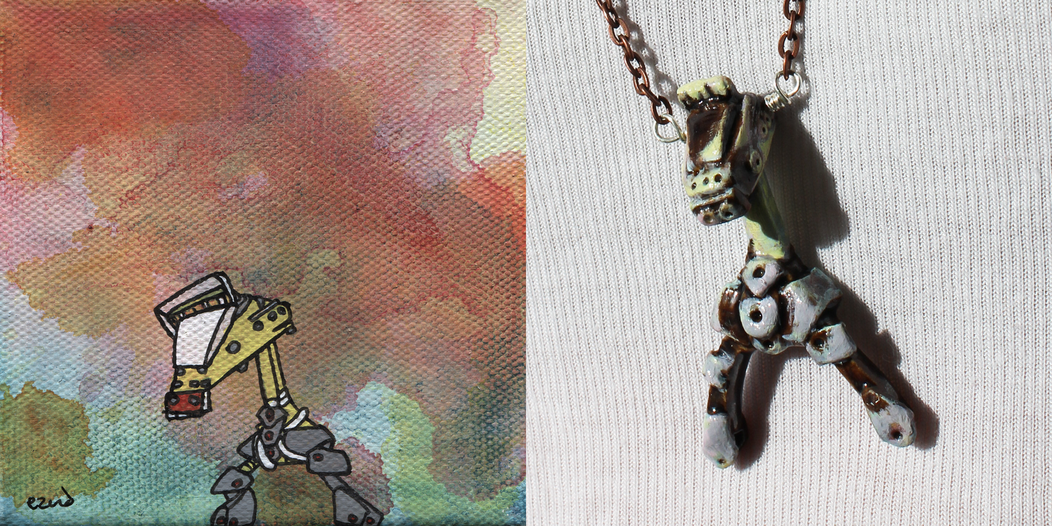 Robot pendants inspired by artist ezerd's Adopt a Robot series.  ezerdland.com