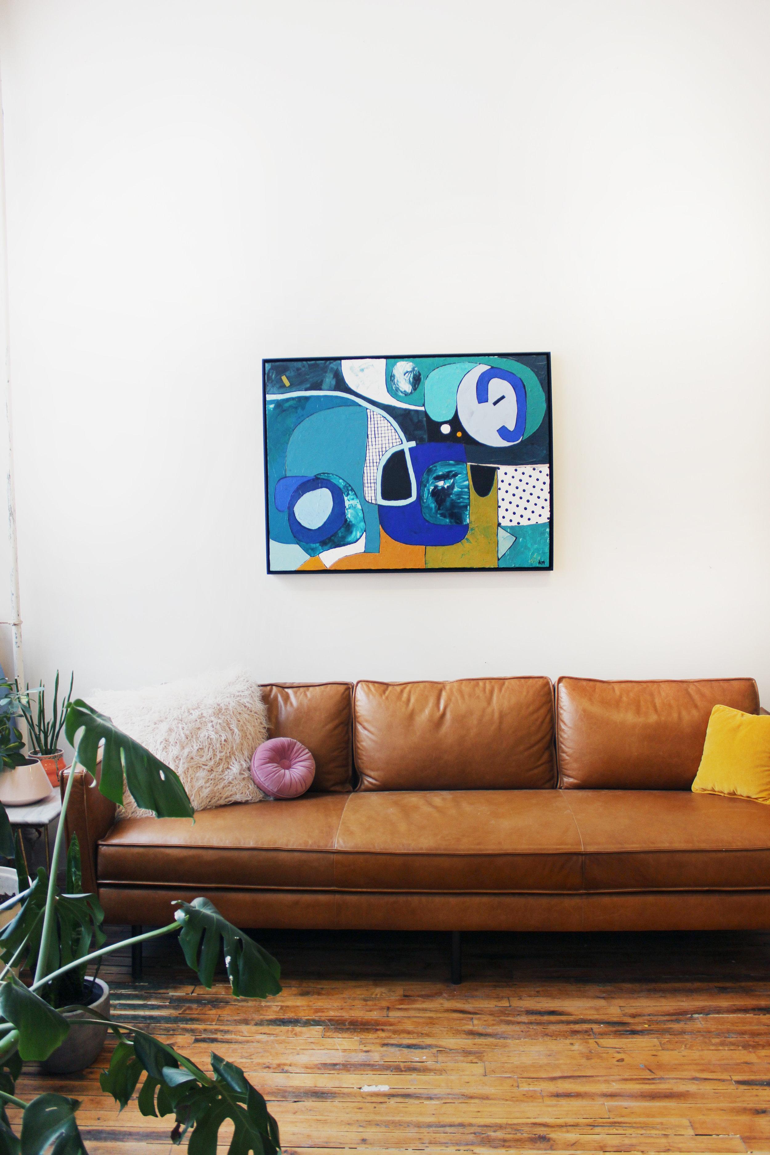 """30"""" X 40"""" Acrylic on canvas, framed.  Custom piece. SOLD"""