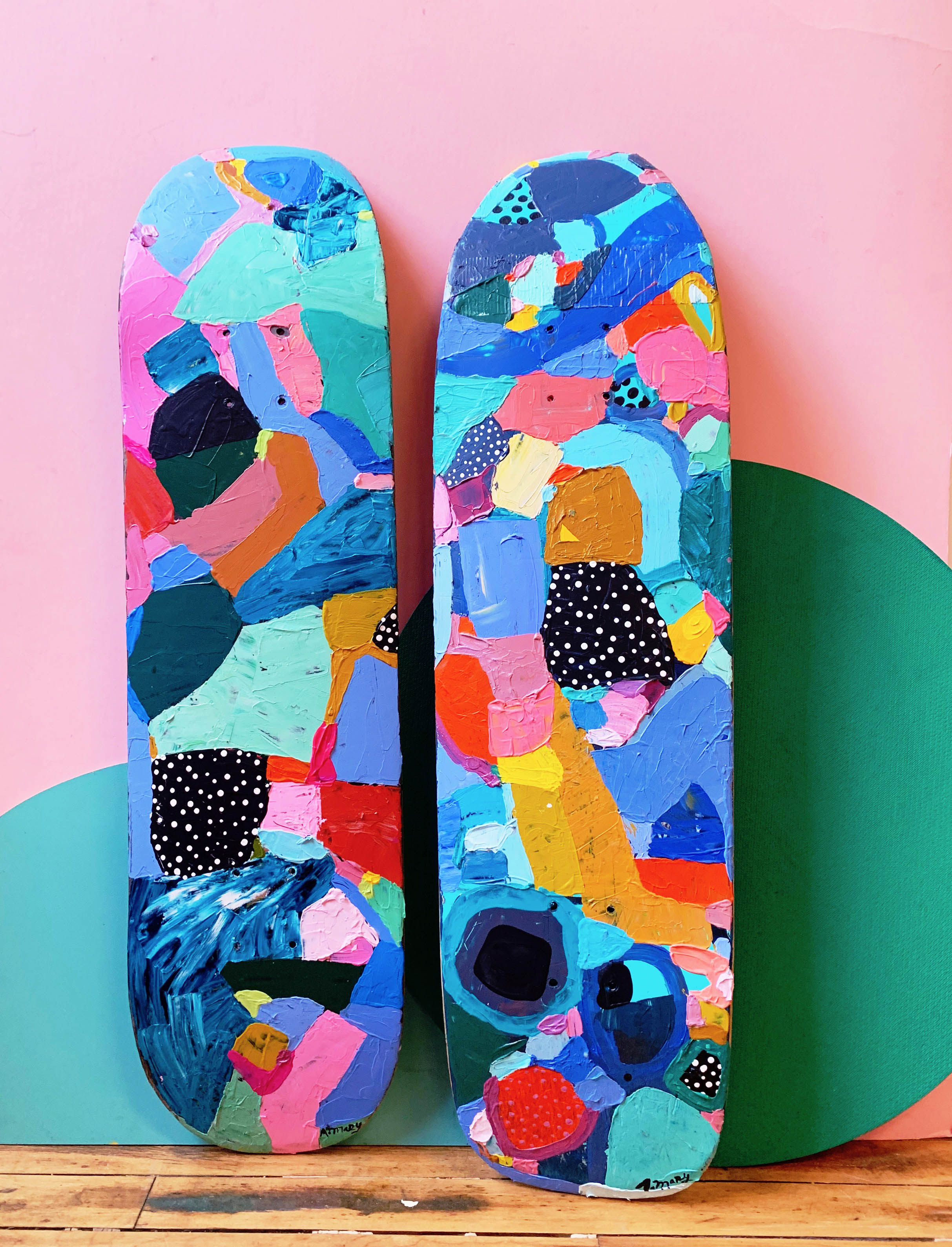 Hand-painted skateboard 2. Available for purchase.  $300 for one board. $600 for both.