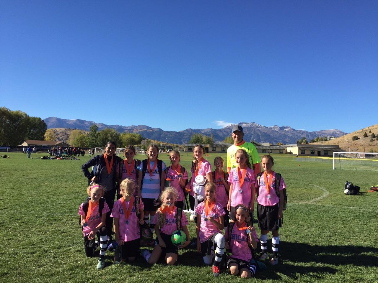 U12 Chicas Cyan, Jackson Hole Finalists Coaches Jessica Ayala and Jim Peters