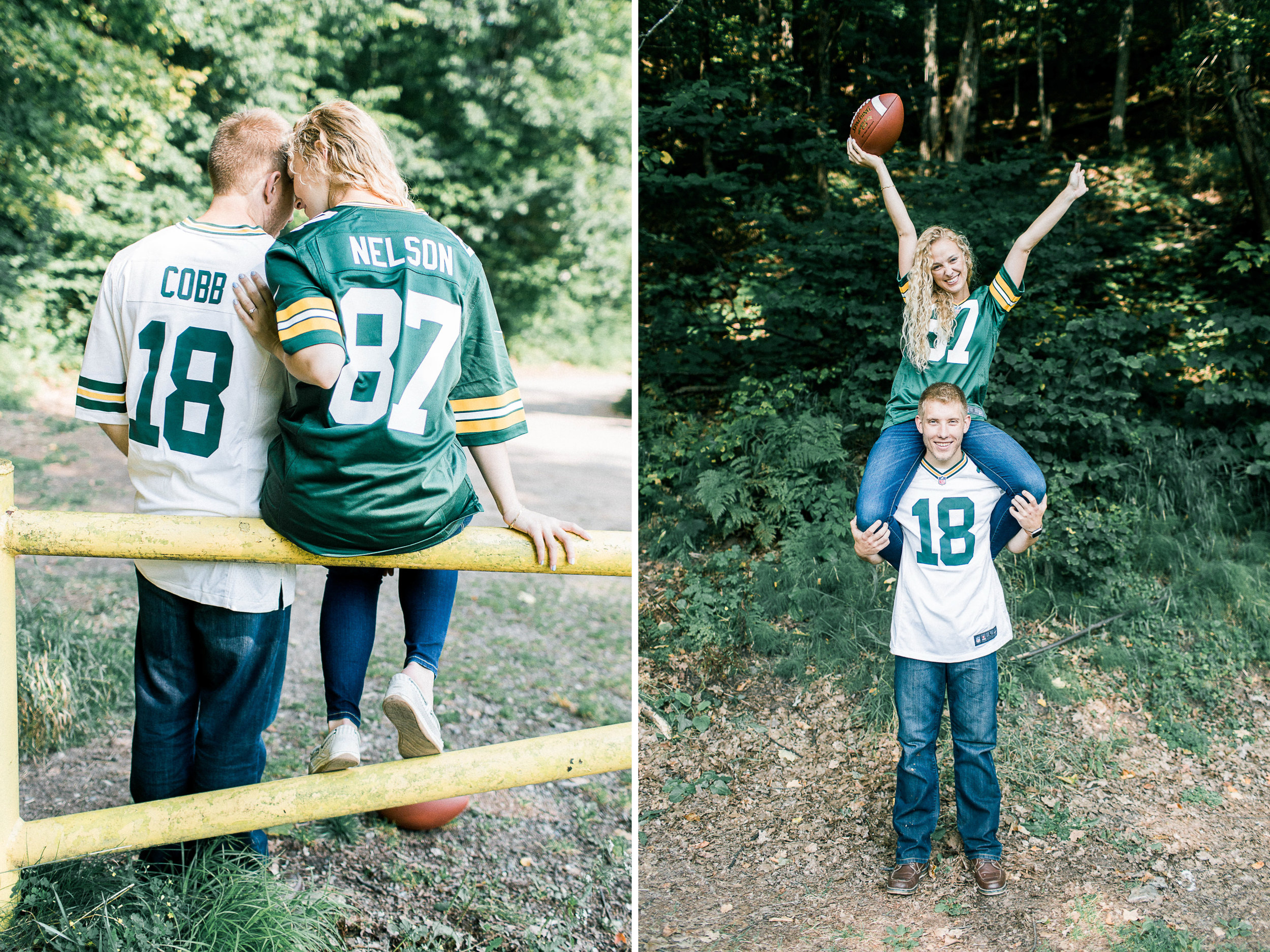 Lauren told me that her husband to be has converted her into a Packers fan! Since then, he bought her a jersey so of course they had to get some fan photos haha! With football season starting up, it seemed like the right way to end this yooper shoot.