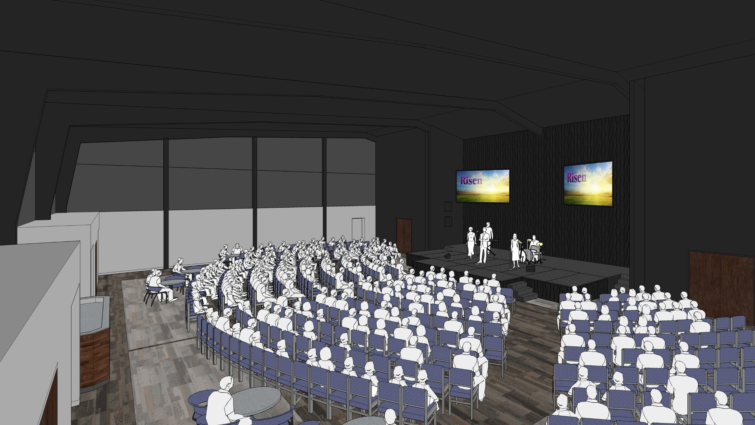 Interior concept of the multi-purpose worship center & gymnasium