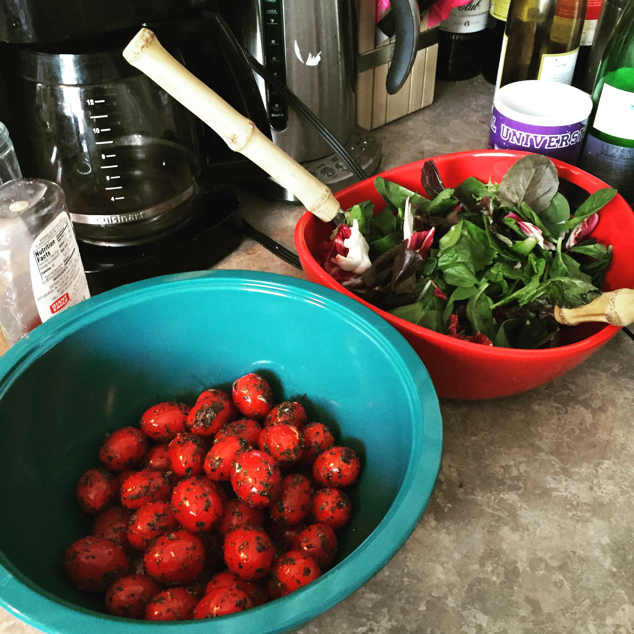 The herb roasted tomatoes and salad
