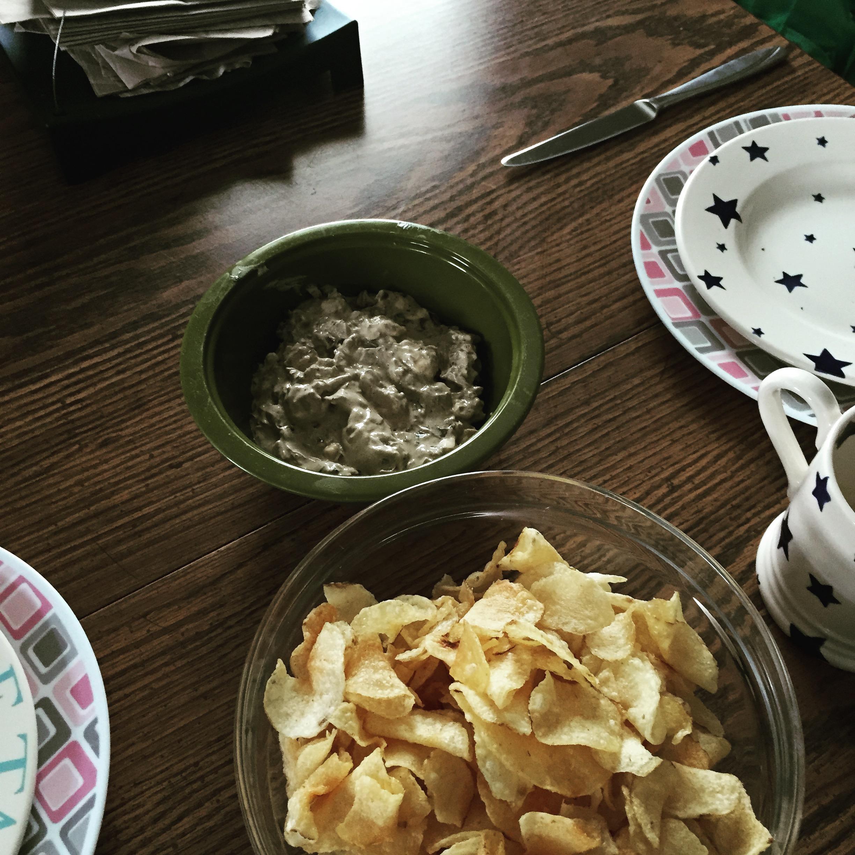 onion dip on my set table.